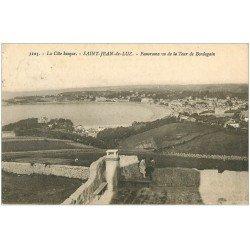 carte postale ancienne 64 SAINT-JEAN-DE-LUZ. Personnages Tour de Bordagain 1924