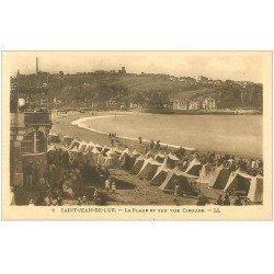 carte postale ancienne 64 SAINT-JEAN-DE-LUZ. Plage et Ciboure 1932