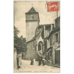 carte postale ancienne 64 SALIES-DE-BEARN. Eglise Saint-Vincent 1917 magasin de Cartes Postales
