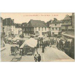 carte postale ancienne 64 SALIES-DE-BEARN. Le Marché Place du Bayaa
