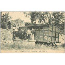 carte postale ancienne 64 SALIES-DE-BEARN. Les Salines expédition du Sel par wagon 1910