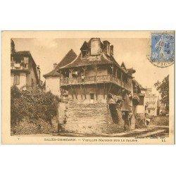 carte postale ancienne 64 SALIES-DE-BEARN. Maisons sur le Saleys 1929