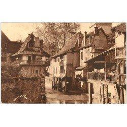 carte postale ancienne 64 SALIES-DE-BEARN. Maisons sur le Saleys 1932