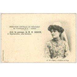 carte postale ancienne 47 AGEN. Avis de Passage 1905. Droguerie Centrale du Sud-Ouest. Coiffure