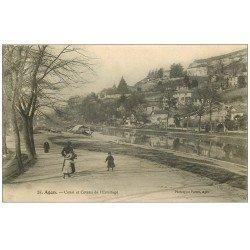 carte postale ancienne 47 AGEN. Canal et Coteau de l'Ermitage 1906