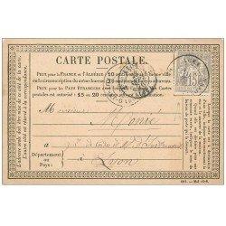 47 AGEN. Carte Postale Précurseur 1876. Timbre 15 Centimes de Lacoste Nouveautés Musicales Agen pour Lyon Monié cordes