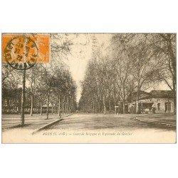 carte postale ancienne 47 AGEN. Cours de Belgique Esplanade du Gravier 1922