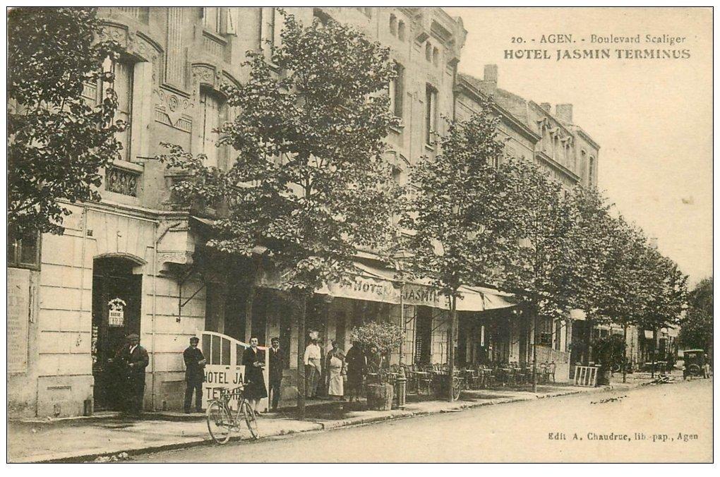carte postale ancienne 47 AGEN. Hôtel Jasmin Terminus Boulevard Scaliger