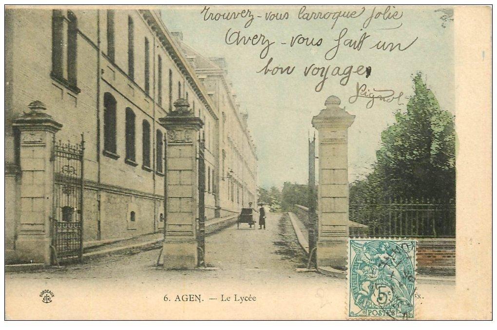 carte postale ancienne 47 AGEN. Le Lycée vers 1905
