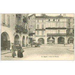 carte postale ancienne 47 AGEN. Place du Marché Librairie et Bonneterie