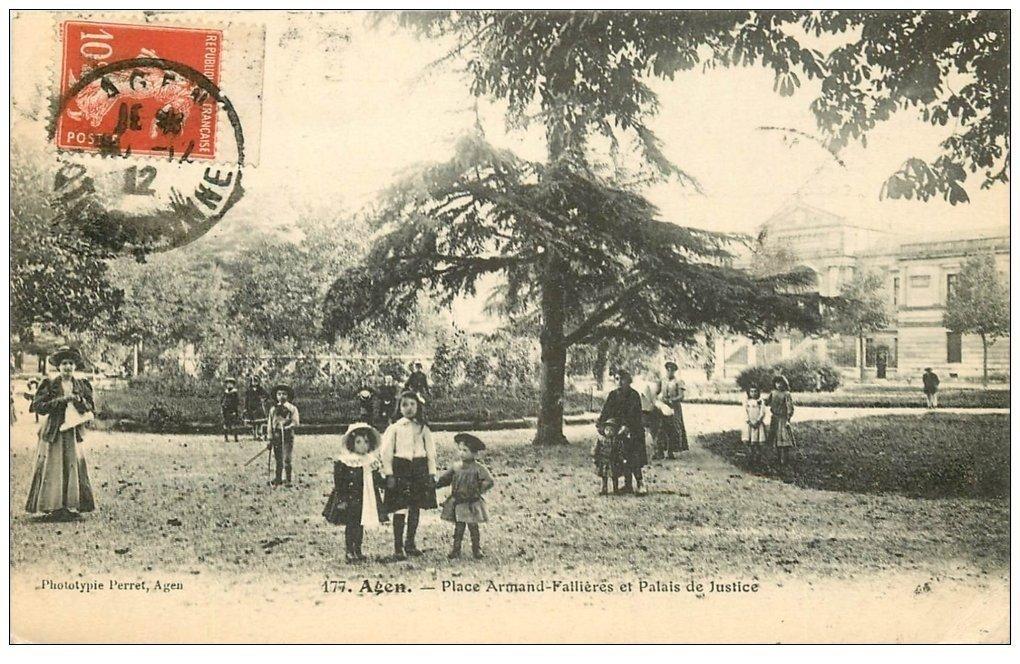 carte postale ancienne 47 AGEN. Place Fallières Palais de Justice 1912