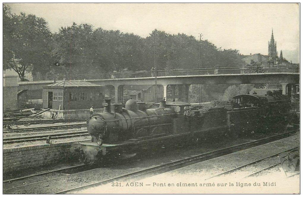 carte postale ancienne 47 AGEN. Pont en ciment sur Ligne du Midi Train locomotive à vapeur