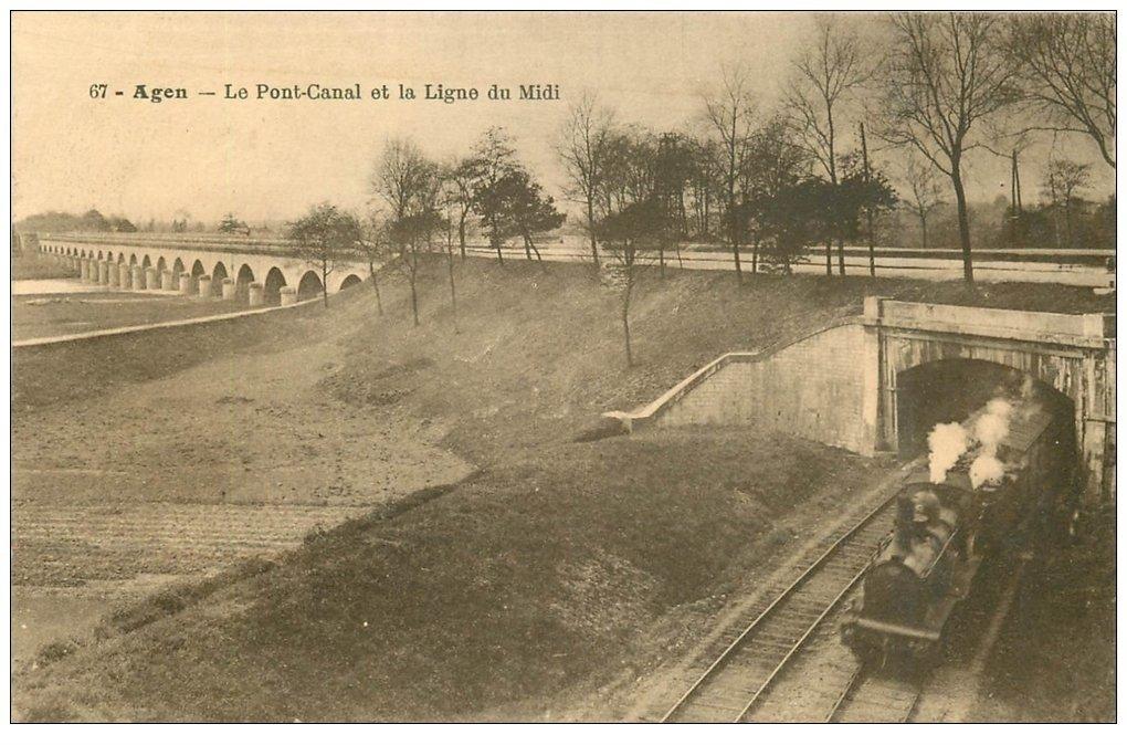 carte postale ancienne 47 AGEN. Pont-Canal et Ligne du Midi 1915 Train et Locomotive à vapeur