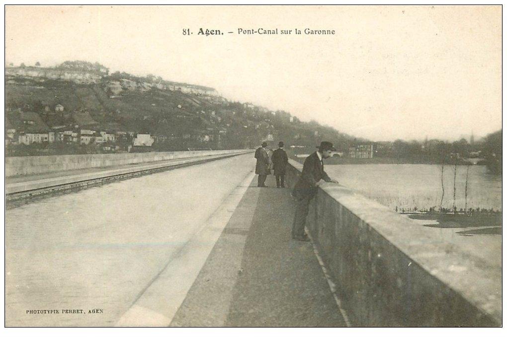 carte postale ancienne 47 AGEN. Pont-Canal sur la Garonne