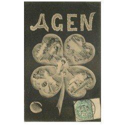 carte postale ancienne 47 AGEN. Une Pensée multivues 1908