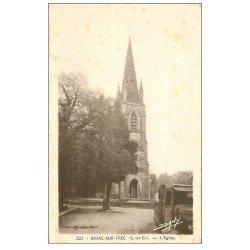 carte postale ancienne 47 BIRAC-SUR-TREC. Eglise et vieux camion