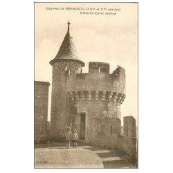 carte postale ancienne 47 CHATEAU DE BONAGUIL. Donjon et Enfants sur la Plate-forme