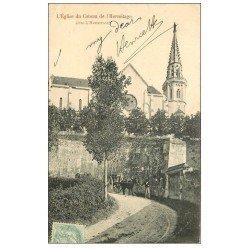 carte postale ancienne 47 EGLISE DU COTEAU DE L'HERMITAGE 1906 avec Attelage