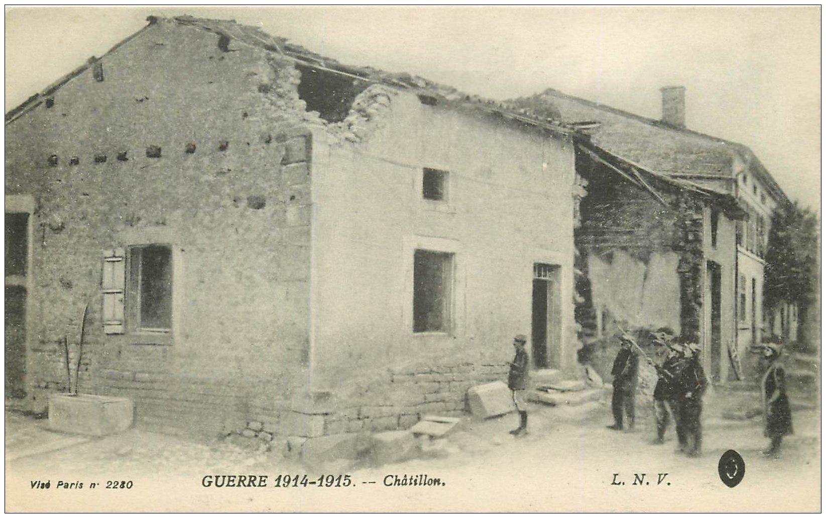 carte postale ancienne 02 CHATILLON. Guerre 1914-1918. Militaires et Soldats