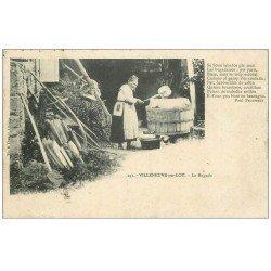 carte postale ancienne 47 VILLENEUVE-SUR-LOT. La Bugado ou lessive 1910