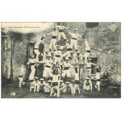 carte postale ancienne 47 VILLENEUVE-SUR-LOT. Les Jeunes Villeneuvois. La Pyramide humaine de Sportifs