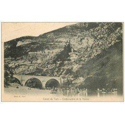 carte postale ancienne 48 CANON DU TARN. Embarcadère de la Malène 1906 belle animation