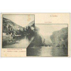 carte postale ancienne 48 GORGES DU TARN. Bateliers remontant le Tarn et sortie du Détroit