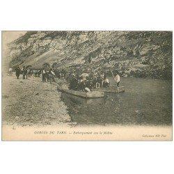 carte postale ancienne 48 GORGES DU TARN. Embarquement pour la Malène