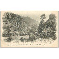 carte postale ancienne 48 GORGES DU TARN. Entrée du Pas de Souci. Perte du Tarn 1901