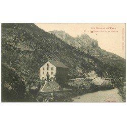 carte postale ancienne 48 GORGES DU TARN. Le Grand Hôtel du Rozier vers 1900
