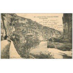 carte postale ancienne 48 GORGES DU TARN. Route des Vignes à la Malène. Tampon Hôpital Militaire 1915
