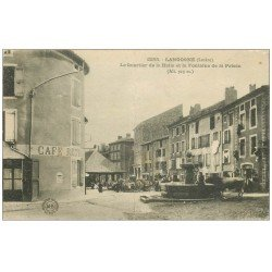carte postale ancienne 48 LANGOGNE. Quartier de la Halle Fontaine de la Prison 1918