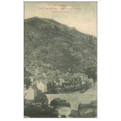 carte postale ancienne 48 SAINTE-ENIMIE. Vue Ouest le Pont