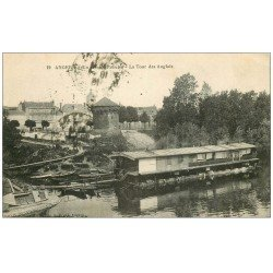 carte postale ancienne 49 ANGERS. Bateau Lavoir et Tour des Anglais coin de Reculée 1916