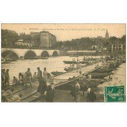 carte postale ancienne 49 ANGERS. Construction d'un Pont par le 6° Génie 1912. Militaires et Régiments