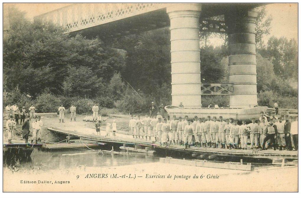 carte postale ancienne 49 ANGERS. Exercices de Pontage du 6° Génie. Militaires et Régiments