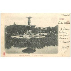 carte postale ancienne 49 ANGERS. Fontaine lumineuse le Jardin du Mail 1902