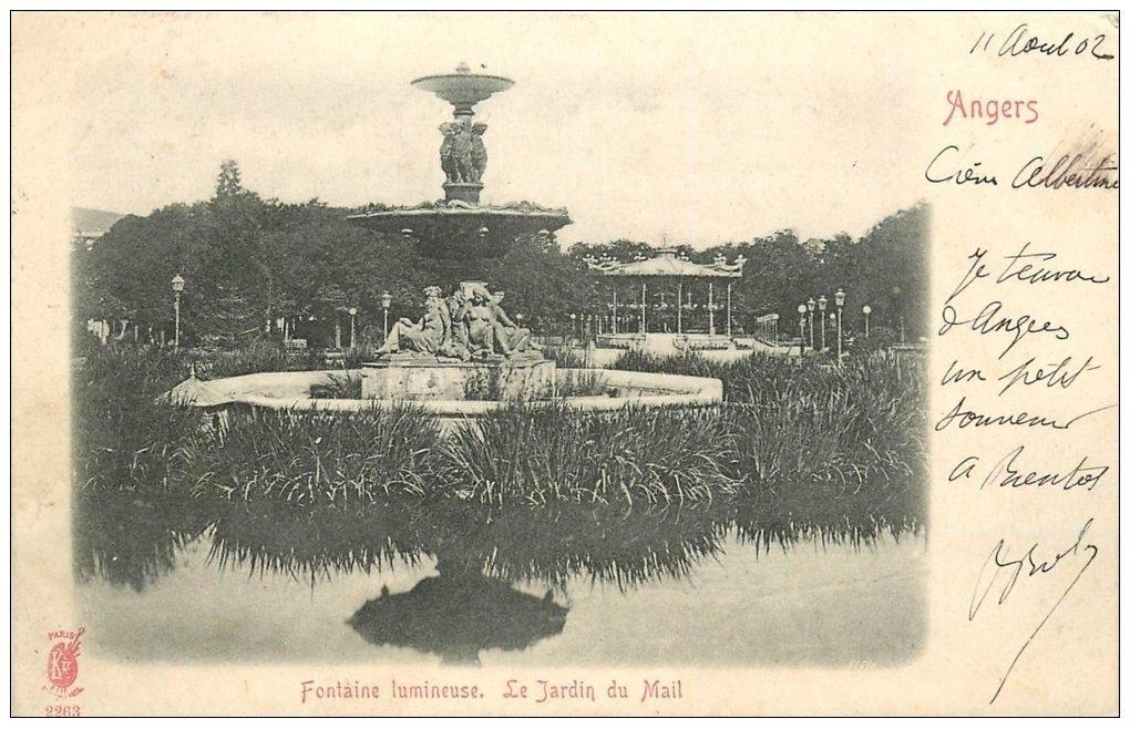 carte postale ancienne 49 ANGERS. Fontaine lumineuse le Jardin du Mail 1902