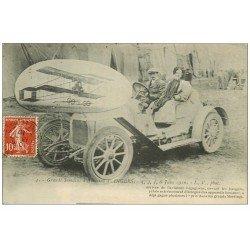 carte postale ancienne 49 ANGERS. Grande semaine d'Aviation 1910. Aviateur Legagneux sur Automobile. Aéroplane et Hangar