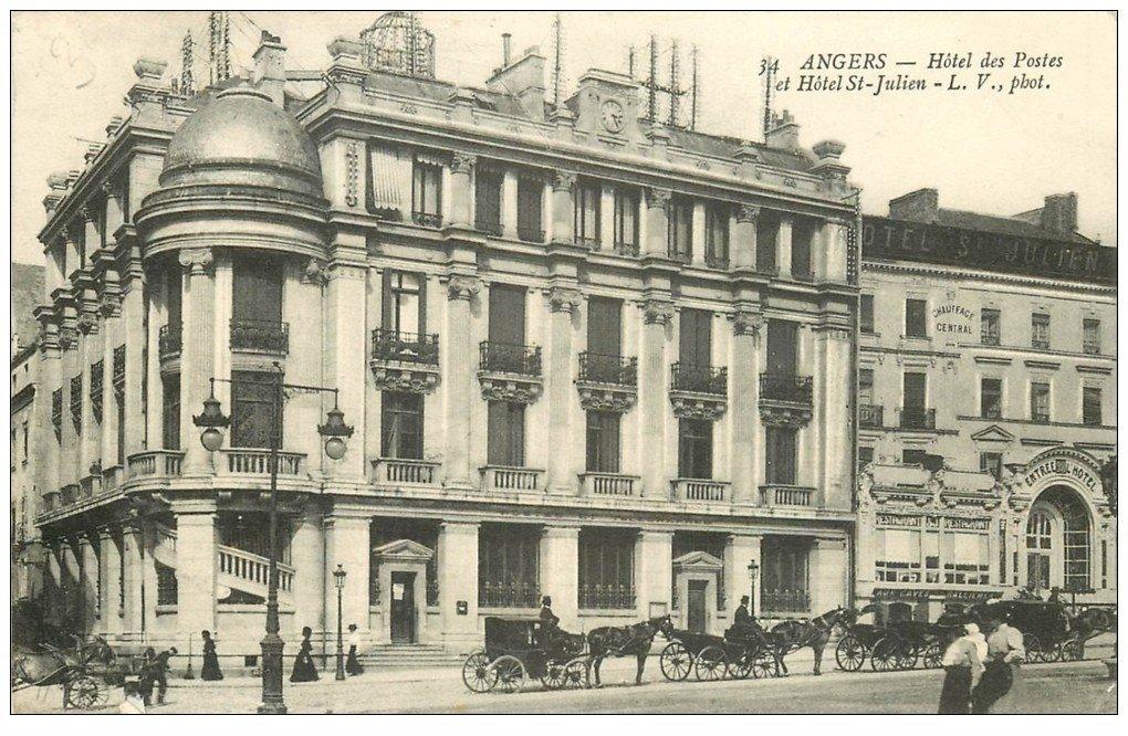 carte postale ancienne 49 ANGERS. Hôtel des Postes et Saint-Julien