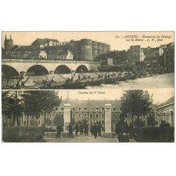 carte postale ancienne 49 ANGERS. Manoeuvre de Pontage et Caserne du 6° Génie 1911. Militaires et Régiments
