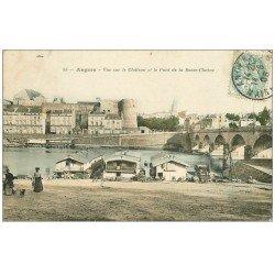 carte postale ancienne 49 ANGERS. Péniches Lavoir et Pont de la Basse-Chaîne 1906