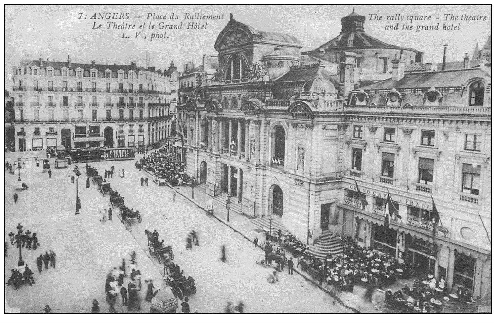 carte postale ancienne 49 ANGERS. Place du Ralliement Théâtre et Grand Hôtel Café de France
