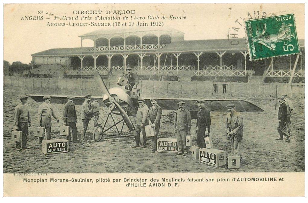 49 ANGERS. Prix Aviation Aéro-Club. Monoplan Morane Saulnier par Brindejon des Moulinais Aéroplane Circuit Anjou en 1912