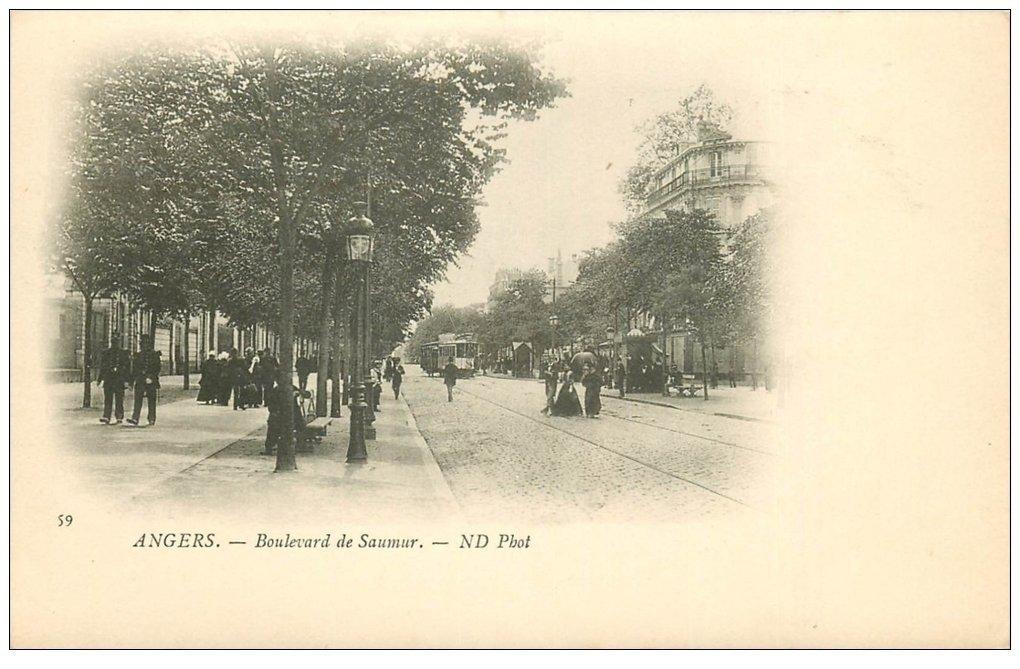carte postale ancienne 49 ANGERS. Promenade Boulevard de Saumur vers 1900