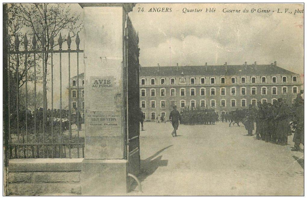 carte postale ancienne 49 ANGERS. Quartier Eblé Caserne du 6° Génie 1915. Militaires et Régiments (en l'état)...