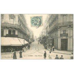 carte postale ancienne 49 ANGERS. Rue d'Alsace 1904 Café du Ralliement et Pharmacie