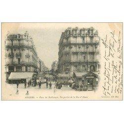 carte postale ancienne 49 ANGERS. Rue d'Alsace et Place du Ralliement 1903. Tramway publicité Maggi