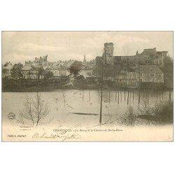 carte postale ancienne 49 CHAMPTOCE. Bourg et Château Barbe-Bleue. Timbre Taxe et T du facteur 1902