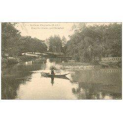 carte postale ancienne 49 CHAMPTOCE. Etang des Acacias 1912 Femme en barque